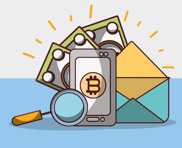 Bitcoin smartfon e-mail pieniądze analiza banknotów kryptowaluta cyfrowa