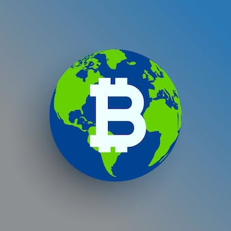 Bitcoin symbol na mapie świata