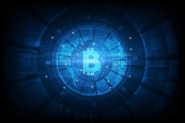 Bitcoin waluta cyfrowa, futurystyczne pieniądze cyfrowe, koncepcja sieci na całym świecie technologii