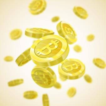 Bitcoin wektorowa ilustracja realistyczny wzór