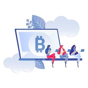 Bitcoin, wirtualne pieniądze płaski kolor ilustracji