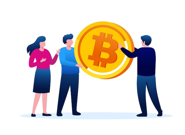 Bitcoin zysk płaski wektor ilustracja szablon transparent