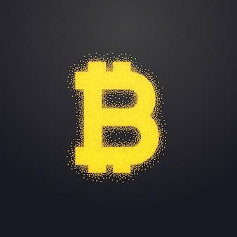 Bitcoins ikona złota projekt wykonany z cząstek