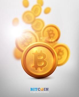 Bitcoiny i nowa koncepcja wirtualnych pieniędzy. złota moneta z literą ikony b. technologia kopania lub blockchain dla kryptowaluty