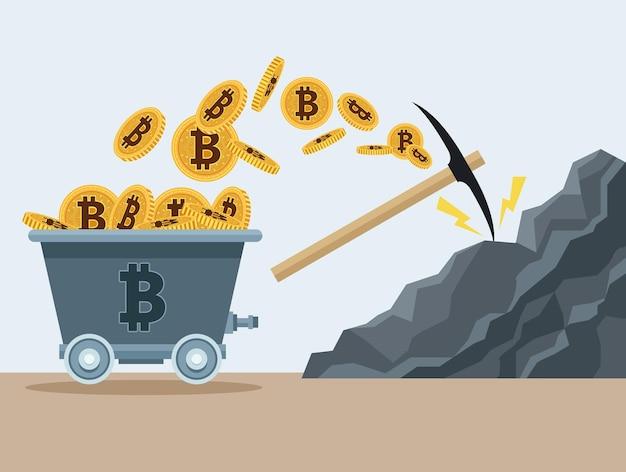 Bitcoiny w wagonie kopalnianym i wybierz w projektowaniu ilustracji wektorowych ikon rocka