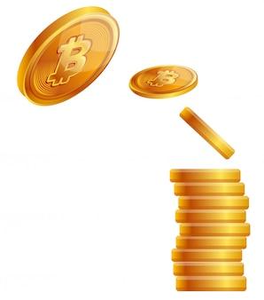Bitcoiny wirtualny pieniądze pojęcia wektor