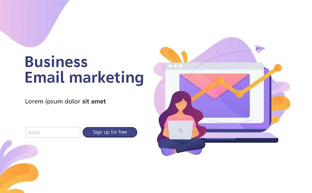 Biuletyn cyfrowa promocja, e-mail marketing płaski ilustracja do strony docelowej