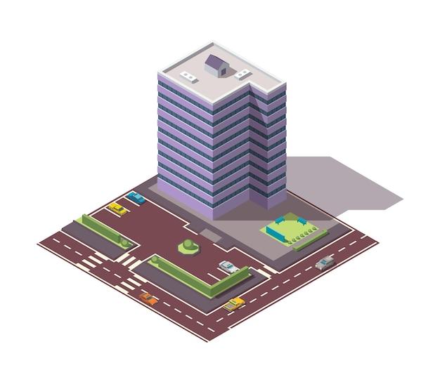 Biura izometryczne. fasada budynku architektury centrum biznesowego. element plansza. architektoniczne wektor ilustracja 3d. kompozycja domu miejskiego z drogami