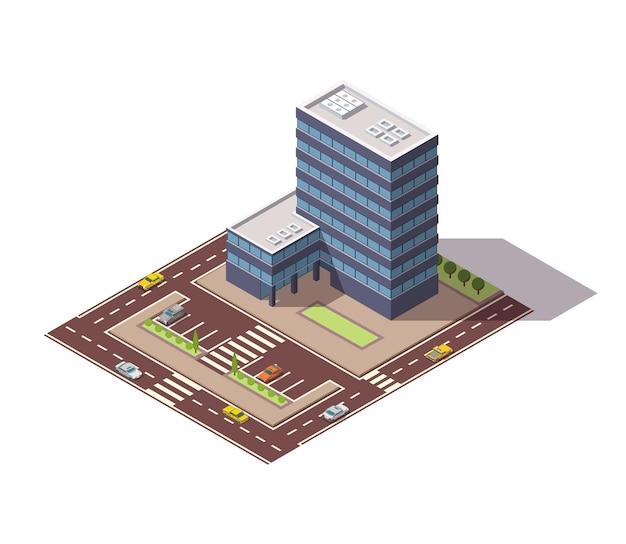 Biura izometryczne. fasada budynku architektury centrum biznesowego. element plansza. architektoniczne wektor ilustracja 3d. kompozycja domu miejskiego z drogami.