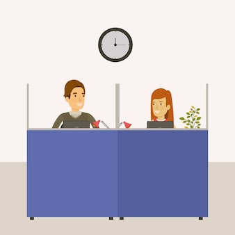 Biura pracy kabiny z pracownikami mężczyzna i kobieta