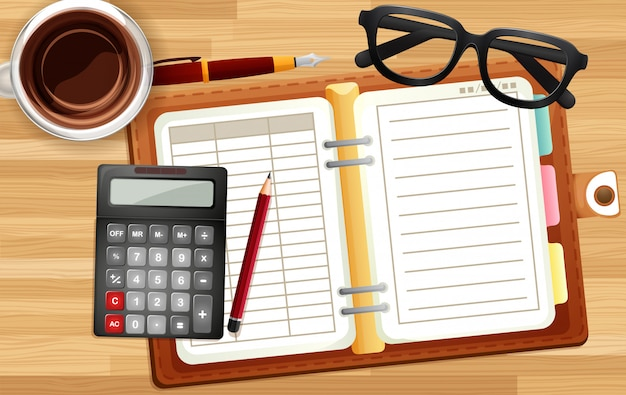 Biurka biurka zakończenie up z notatnikiem, kalkulatora i filiżanki kreskówki styl