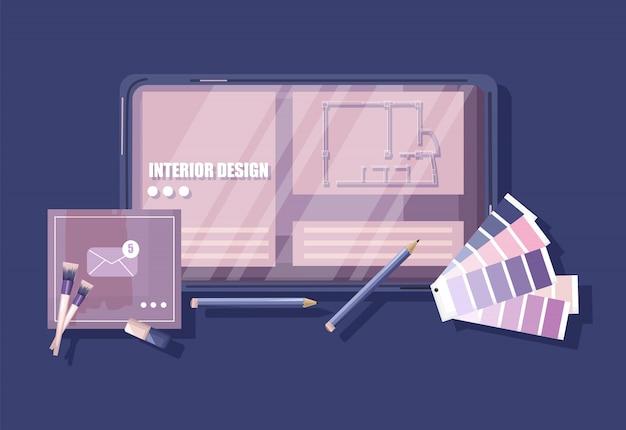 Biurko architektów z przewodnikiem po formule kolorów pantone, klawiaturą, szkicem i kawą w kształcie serca