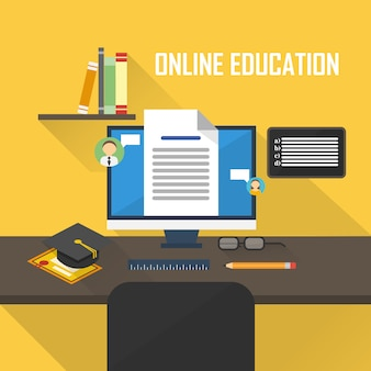 Biurko elementów edukaci online ilustracja