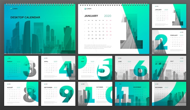 Biurko kalendarz 2020 szablon biznes