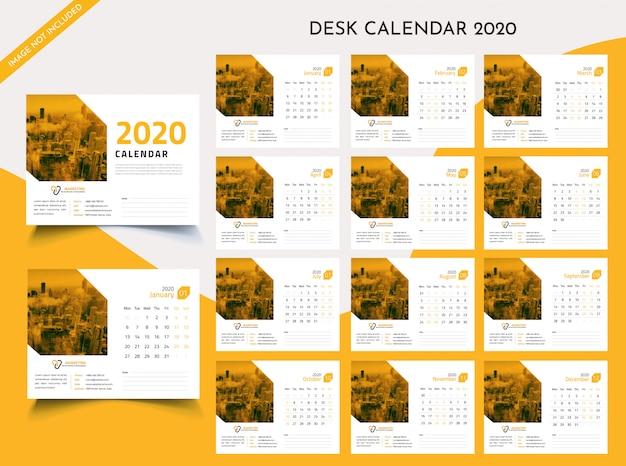 Biurko kalendarz 2020 szablon wektor premium