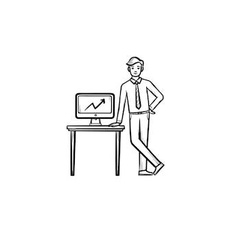 Biurko konferencyjne ręcznie rysowane konspektu doodle wektor ikona. biurko dla biznesu głośnik szkic ilustracji do druku, sieci web, mobile i infografiki na białym tle.