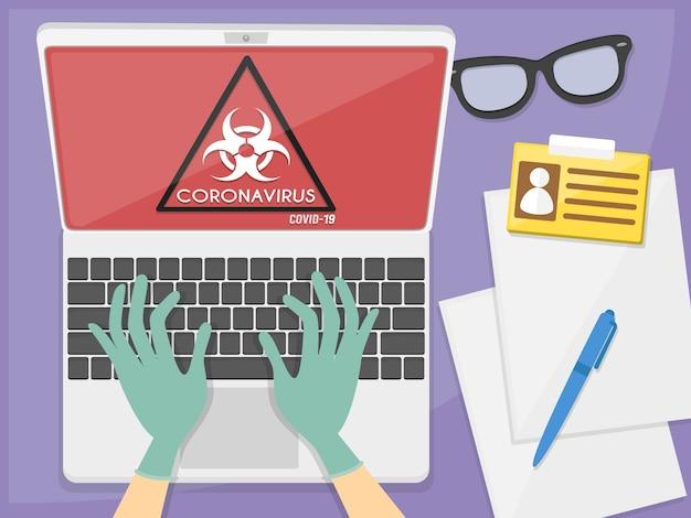Biurko lekarza. szpital komputer laptop. ilustracja
