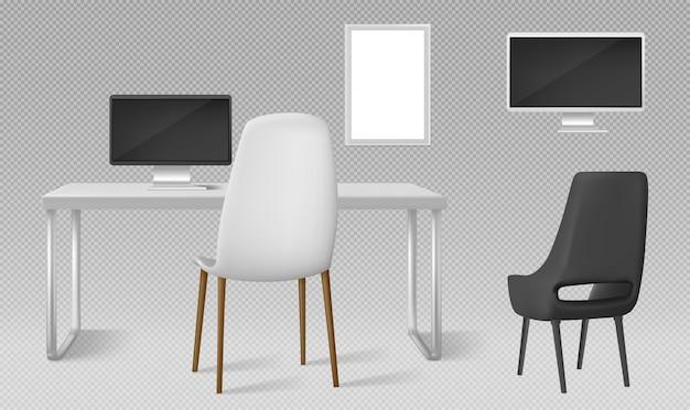 Biurko, monitor, krzesła i puste ramki na zdjęcia na białym tle. wektor realistyczny zestaw nowoczesnych mebli, stołu, krzesła i ekranu komputera do pracy w biurze lub w domu