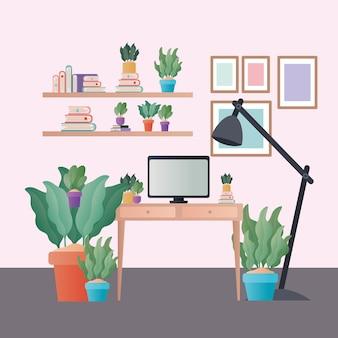 Biurko z lampą komputerową i roślinami w wystroju pokoju, dekoracja wnętrz mieszkalnych budynku mieszkalnego i motywu mieszkalnego