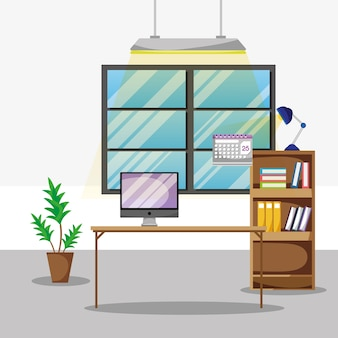 Biurko z płaskimi akcesoriami biurowymi do pracy