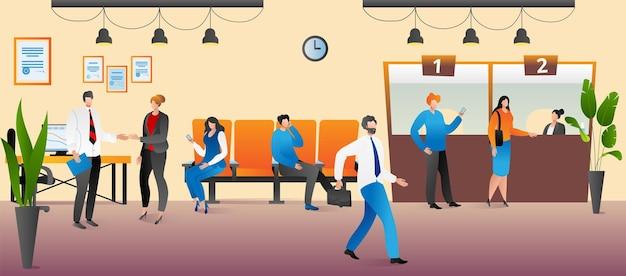 Biuro bankowe z usługą finansową, ilustracji wektorowych. płaski pracownik mężczyzna kobieta postać pomóc klientowi z płatności bankowych, kierownik firmy finansowej. wnętrze z kasjerem, ludzie biorą kredyt, depozyt.