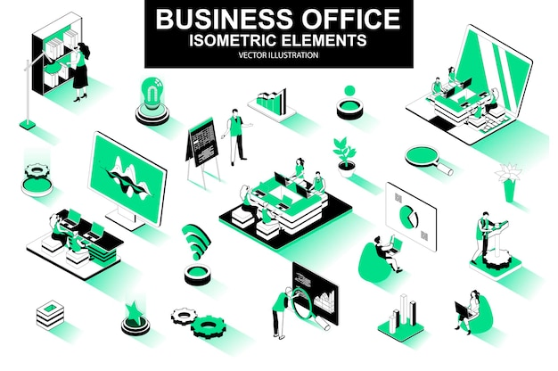Biuro biznesowe 3d izometryczne elementy linii