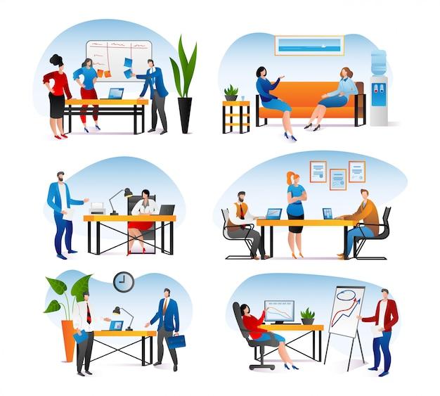 Biuro biznesowe z ludźmi pracy zestaw, ilustracja. zespół mężczyzna postać kobiety w pracy, komputer osoba na biurku. grupa profesjonalne spotkanie koncepcja, sukces w pracy zespołowej.