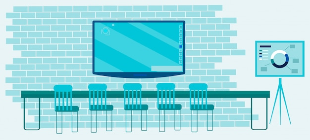Biuro cyfrowe z meblami i technologiami