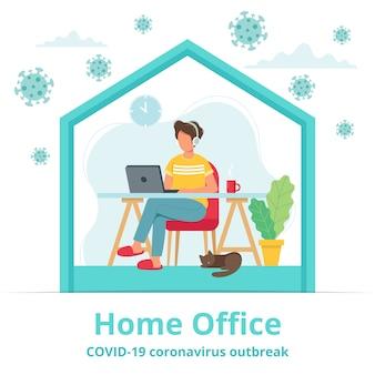 Biuro domowe podczas koncepcji wybuchu koronawirusa, mężczyzna pracuje z domu.