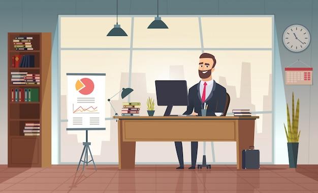 Biuro dyrektora. wewnętrzny biznesmena obsiadanie przy stołowym biurowym kreskówka obrazkiem