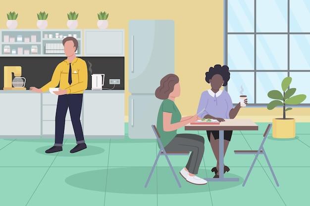 Biuro ilustracja płaskie przerwa obiadowa. koledzy jedzą razem obiad.