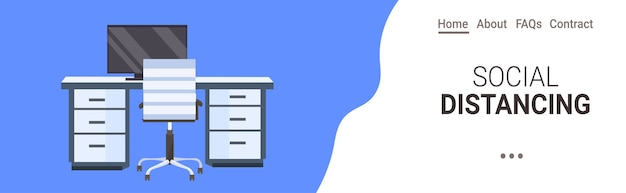 Biuro miejsce pracy biurko dystans społeczny ochrona przed epidemią koronawirusa koncepcja samoizolacji pozioma przestrzeń kopiowania
