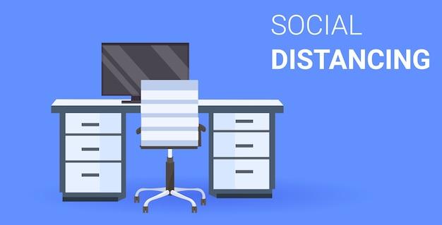 Biuro miejsce pracy biurko dystans społeczny ochrona przed epidemią koronawirusa koncepcja samoizolacji