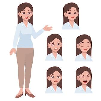 Biuro młoda dama z wyrazem twarzy różnicy