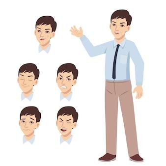 Biuro młody człowiek stojący machał ręką i zestaw wyrazu twarzy różnicy