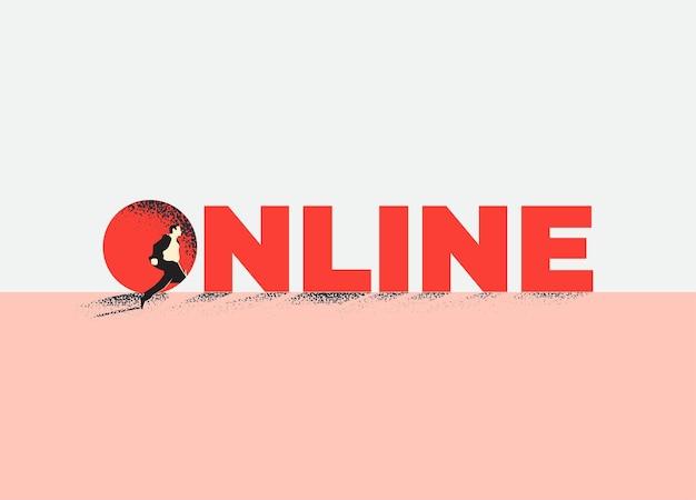Biuro online lub koncepcja pracy online z sylwetką urzędnika biurowego lub biznesmena