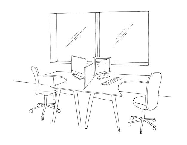 Biuro open space. miejsca pracy na zewnątrz. ilustracja w stylu szkicu.