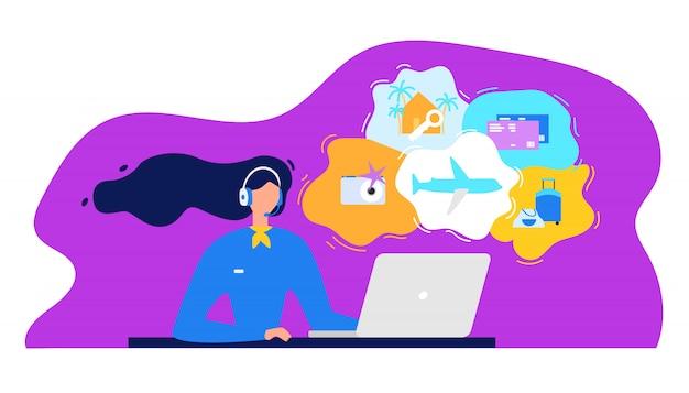 Biuro podróży call center płaskie wektor koncepcja