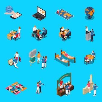 Biuro podróży izometryczne ikony