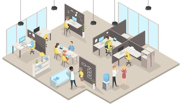 Biuro projektowe w izometrii z osobami pracującymi.