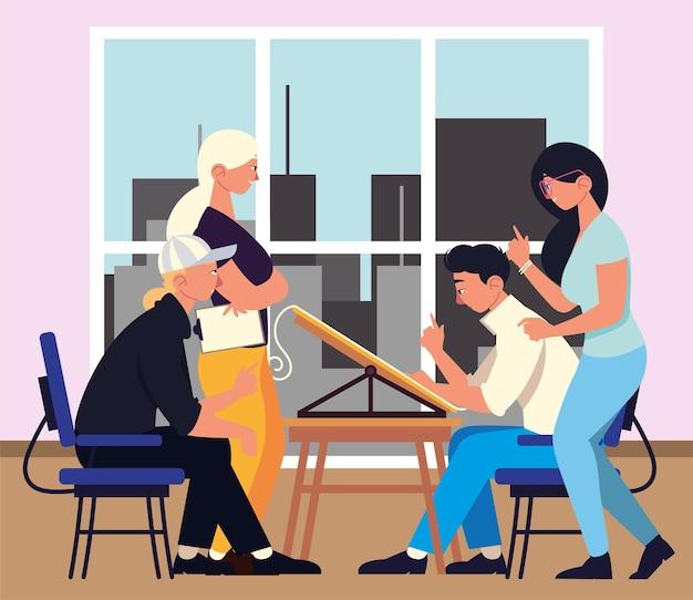 Biuro spotkania znaków pracowników pracy zespołowej