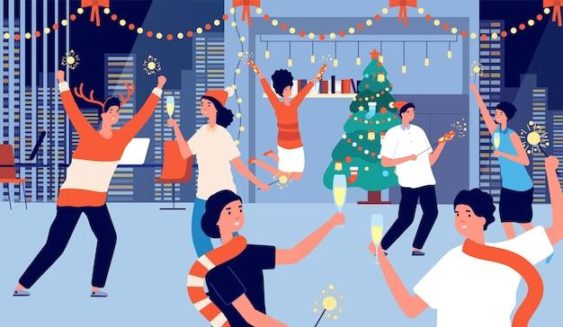 Biuro świąteczne przyjęcie. święta bożego narodzenia lub nowy rok ludzi biznesu. dziewczyny chłopcy personel z szampanem, ilustracja wektorowa wakacje firmowe. świąteczny szczęśliwy zespół z szampanem w biurze