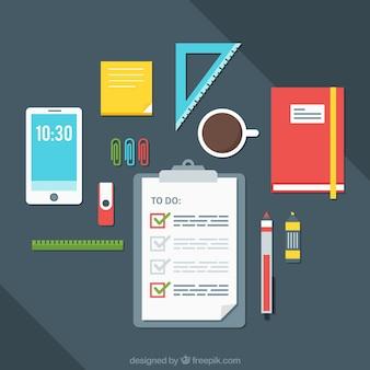 Biuro tło z listy zadań do wykonania i materiałów biurowych