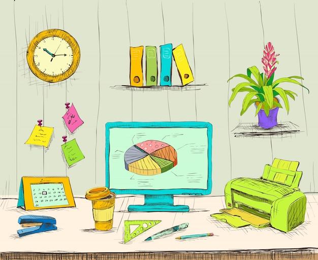 Biuro W Biurze Firmy Pracy Biurowej Premium Wektorów