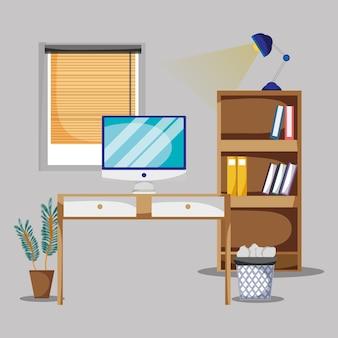 Biuro z biurkiem i akcesoria mieszkanie pracować wektorowa ilustracja