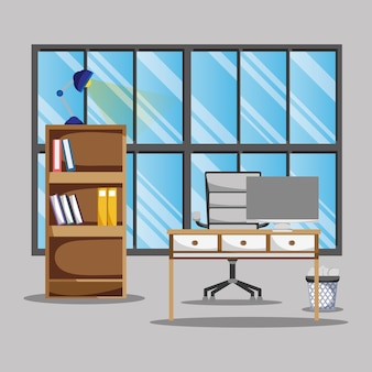 Biuro z biurkiem i akcesoriami do pracy