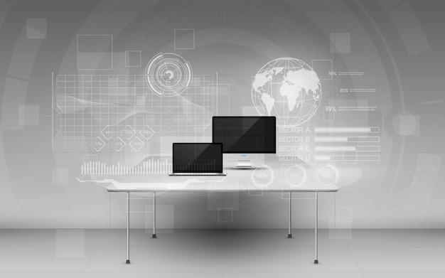 Biuro z nowoczesnymi urządzeniami i cyfrowymi danymi na ekranach z hologramem