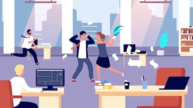 Biurowa bijatyka. chaos w miejscu pracy. negatywni pracownicy w biurze. zła kontrola organizacji, korporacja biznesowa