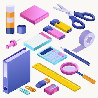 Biurowa dostawa szkoła stacjonarna wytłacza wzory ikony i akcesoria edukacja asortymentu markiera ołówkowa ilustracja uczy kogoś isometric set