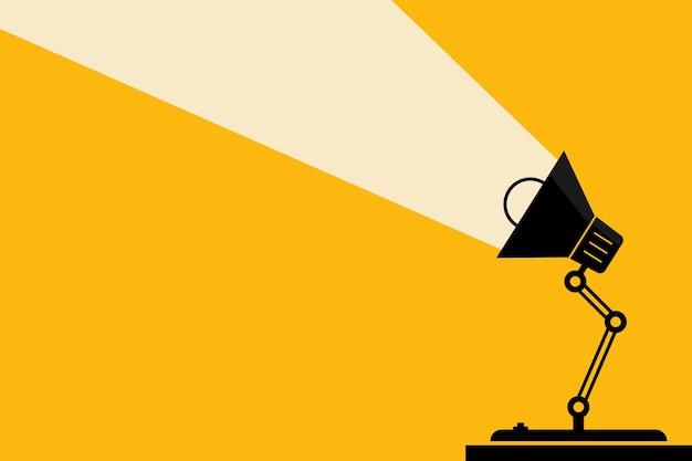 Biurowa lampa stołowa i oświetlenie. pomysły i koncepcja myślenia. miejsce na twój tekst.